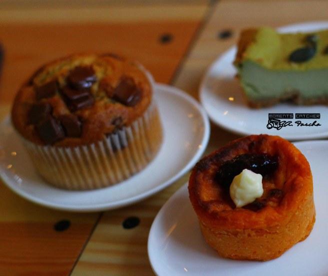 Choco Muffin, Sweet Potato Cake, Green tea Cheesecake
