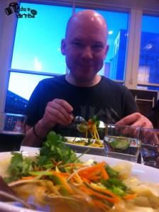 Enjoying the food!