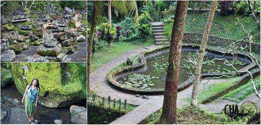kiri atas : reruntuhan depan kolam kiri bawah : di balik bebatuan di dekat air terjun  kanan : kolam