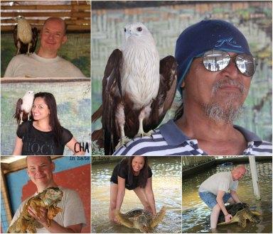 foto dengan elang? iguana ato penyu raksasa?