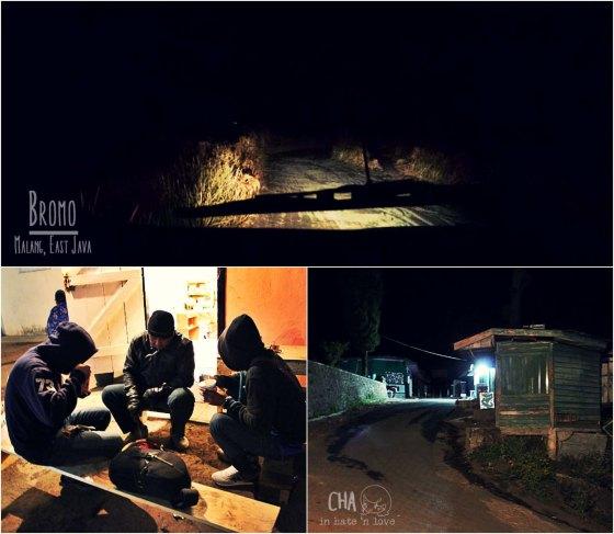 Atas : lautan pasir di malam hari  KiB : ngopi dan ngemie  KaB : parkiran masih kosong