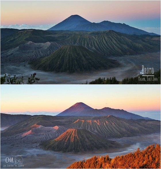 Atas : pegunungan sebelum sunrise Bawah : pegunungan sejenak setelah sunrise