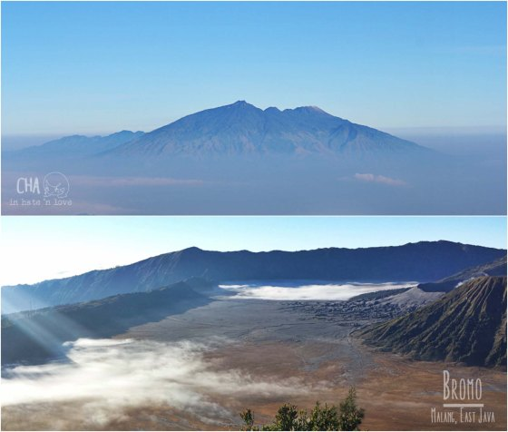 Atas : Gunung Arjuno dari kejauhan Bawah : Lautan pasir